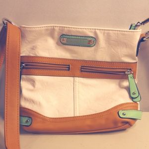 Rosetti White, Mint & Saddle Colors Shoulder Bag